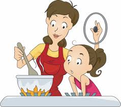 Mom and kid making their favorite recipe!